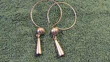 Eastern Woodlands  Pr. Ball & Cone Earbob Earrings German Silver Old Style Hoop