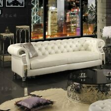 Design Chesterfield Sofa Set 3 Seat Couch Leather Pads Modern Luxury Sofa