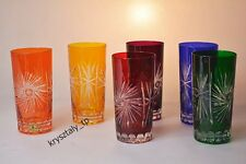 """Crystal glass juice set of 6 from Poland Hand Made """"HANDMADE"""" Color MIX"""