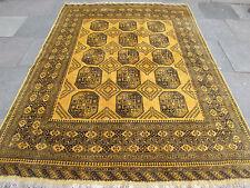 Vieux Fait Main Traditionnel Golden Afghan Tribal laine Or tapis moquette 279x206cm