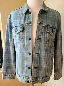 NWT Levi's Mens Light Blue Washed Denim Vintage Trucker Jacket Gray  L/XL