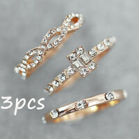 3PCS Crystal Thin Stackable Twisted Rose Gold Band Ring Set Women Bridal Jewelry
