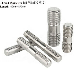316 Stainless Steel Exhaust Manifold Studs Double End Threaded Rod Bolts M6-M12