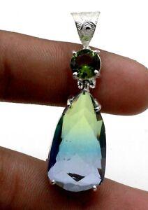 """925 Sterling Silver Tourmaline & Peridot Gemstone Jewelry Pendant Size-1.80"""""""
