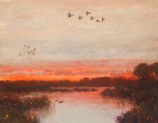 Ducks Waterbirds Wetlands Impressionism Art Oil Painting Landscape Red Sky Sun