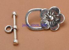 20Pcs Tibetan Silver FLOWER Toggle Clasps Connectors Hooks Jewelry fittings 3374