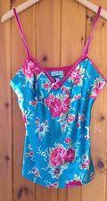 Silky Oasis Night Wear Vest/Odille/Size Medium/Blue & Pink Vintage Floral Design
