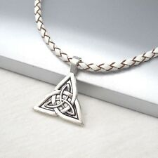 Silver Trinity Celtic Knot Alloy Pendant 3mm Braided White Leather Necklace
