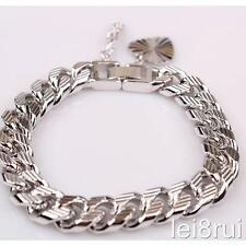 """7"""" catena placcata in oro bianco cuore braccialetto regalo di compleanno ragazzo argento no STON"""