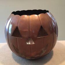 "8"" Halloween Pumpkin Bronze-Tone Metal Candle Holder Made in India Great!"