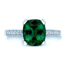 Cushion Green Tourmaline Diamond Engagement Ring 18k White Gold Solitaire 3.91CT