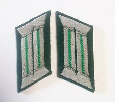 WW2 GERMAN ARMY OFFICER COLLAR TABS  LIGHT GREEN PIPING pair