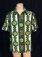 VTG 70s Ui Maikai Hawaiian Shirt Top Floral White Green Yel Org Hipster Riding L