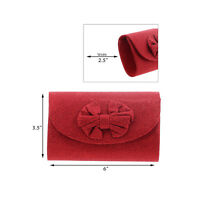 Small Sparkly Red Evening Clutch w/Bow 6 Inch Womens Evening Bag Wristlet Purse