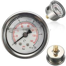"42mm Fuel Pressure Regulator Gauge Liquid Oil Filled 0-140 PSI 0-10 Bar 1/8"" NPT"