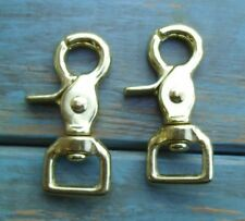 Lot of 2 Solid Brass Trigger Scissor Rein Snaps Flat Square End Swivel 3/4""