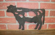 Metal Cow Steer Cut Out Silhouette Yard Garden Plaque Decor