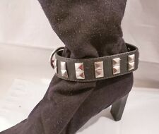 BLACK LEATHER WITH SILVER STUDS BOOT BELTS