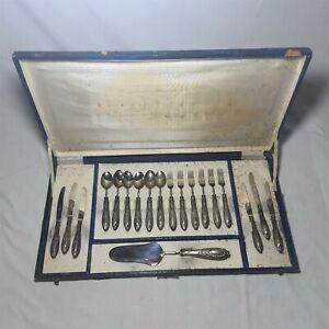 Antique Argento Solingen Vintage Set Of 19 Sterling Silver 800 In Original Box