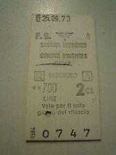 BIGLIETTO DEL TRENO CARTONATO - SAVONA LETIMBRO GENOVA BRIGNOLE -- 1973 C10-301