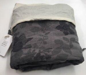 Restoration Hardware Garment-Dyed Floral Linen Duvet Twin Graphite NEW $309