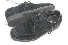 Hush Puppies VTG Wmns Sz 8.5 39 Blk Suede Lace Up Oxfords Loafers Slip On Shoes
