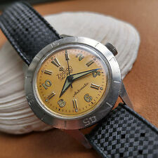 Vintage 1950's First Generation Zodiac Seawolf Diver Watch w/Amazing Dial Patina
