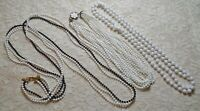 VINTAGE ASSORTED BLACK & WHITE LUCITE BEADED MULTI STRAND NECKLACE LOT
