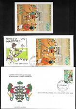 Maldives Los Angeles 1984 Olympic Games - 2 x FDC's & a Souvenir Sheet - CTO
