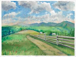 original painting 28 x 38 cm 136PO art samovar modern Watercolor landscape