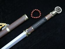 Chinese sword Han jian Folding pattern steel Handmade blade Rosewood scabbard