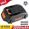 2.0Ah for Worx 20V WA3525 WA3520 WA3512 Battery WG160 WG163 WG151 WX550L WG154