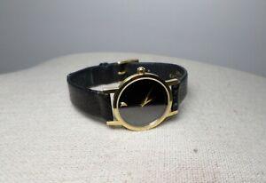 Movado Museum 87-A1-832 Swiss Made Quartz Classic Black Leather Ladies Watch