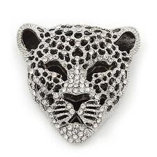 Cristal Grandes 'Tigre' Broche En Acabado Plata/Negro - 5cm de longitud