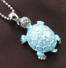 Multicolor Turquoise Stone Turtle Necklace Chain Rhinestone Designer Pendant NEW