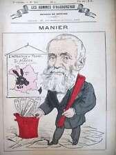 JOSEPH MANIER INSTRUCTION EN FRANCE CARICATURE DEMARE HOMMES D'AUJOURD'HUI 1878