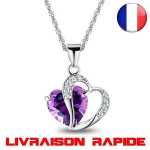 Collier Coeur Strass Femme Fille Bijoux Chaine Pendentif Cristal 6 Couleurs Mode