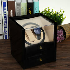 2+2 Uhrenbeweger watchwinder Schwarz Kubus Uhren Automatisch Box EU Adapter Holz