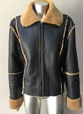 Shearling Fur Real Leather Retro Motorcycle Sherling Brown Short Jacket Coat L