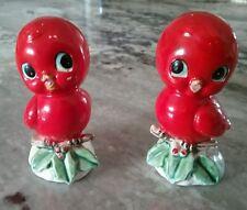 VTG- Ceramic *RED BLUE BIRDS SALT & PEPPER SHAKERS* Xmas Cardinal Figurine JAPAN