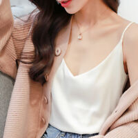 Women Satin Silk Strap V neck Cami Top Vest Camisole Sleeveless Shirts Tops