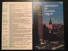 1988-89 University Of Florida UF Gators Academic Pocket Schedule SEC