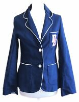 Pauls Boutique Fitted Navy Blue Nautical Double Breasted Blazer Jacket M 10 12