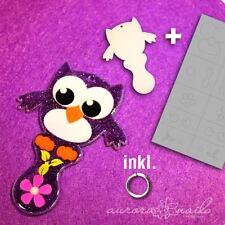 Airbrush Schmuck Rohling Set 11 Rohling + Schablone Eule Owl Einkaufswagen Chip