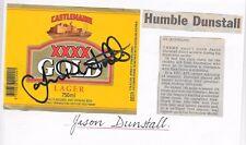 JASON DUNSTALL ~ AFL~ HAND SIGNED BEER LABEL ~ CASTLEMAINE XXXX GOLD