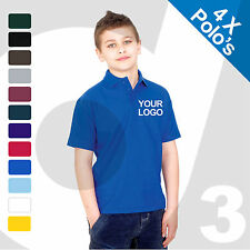4 X Kids Personalised Embroidered / Printed Polo Shirts Customised Text/Logo