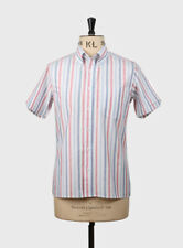 Art Gallery Clothing - Short Sleeve Fitted Shirt- Sky Stripe S  Mod Sixties