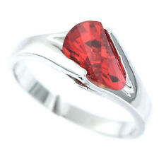 Ladies Red Orange CZ Stone White Gold Plated Ring Size 10