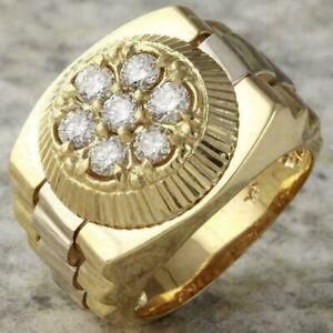 1.60 Ct Round Cut Diamond Men's Rolex Designer Ring Solid 14K Yellow Gold Finish