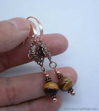 Exquisite Brown Tiger Eye Copper Earrings ---Leverbacks  !! A0922